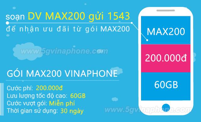 Đăng ký gói MAX200 Vinaphone nhận ngay 60GB data TRỌN GÓI