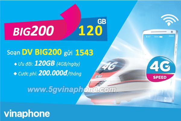 Đăng ký gói BIG200 Vinaphone nhận ngay 120GB data chỉ với 200k/tháng
