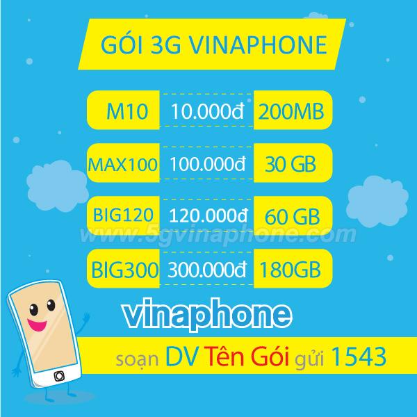 Cách đăng ký 3G Vinaphone 1 ngày/ tháng tuần/ 1 tháng/ 1 năm