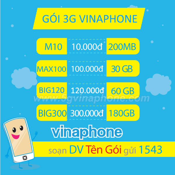 Bảng giá các gói cước 3G Vinaphone giá rẻ mới nhất