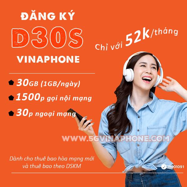 Cách đăng ký gói D30S Vinaphone chỉ với 52k/tháng có ngay 30GB + 1530 phút gọi