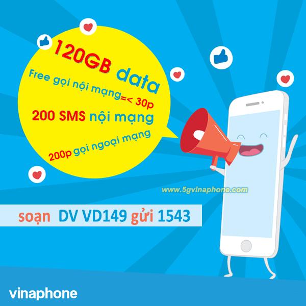 Cách đăng ký gói VD149 Vinaphone nhận ưu đãi 120GB data, gọi thoại và SMS thả ga