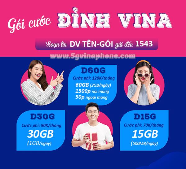 Các gói cước Đỉnh Vinaphone ưu đãi 15GB, 30GB, 60GB siêu hấp dẫn