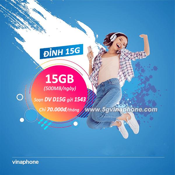 Đăng ký gói D15G Vinaphone chỉ với 70.000đ có ngay 15GB data tốc độ cao