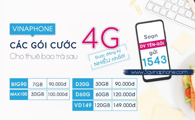 Các gói cước 4G Vinaphone trả sau mới nhất cho thuê bao di động