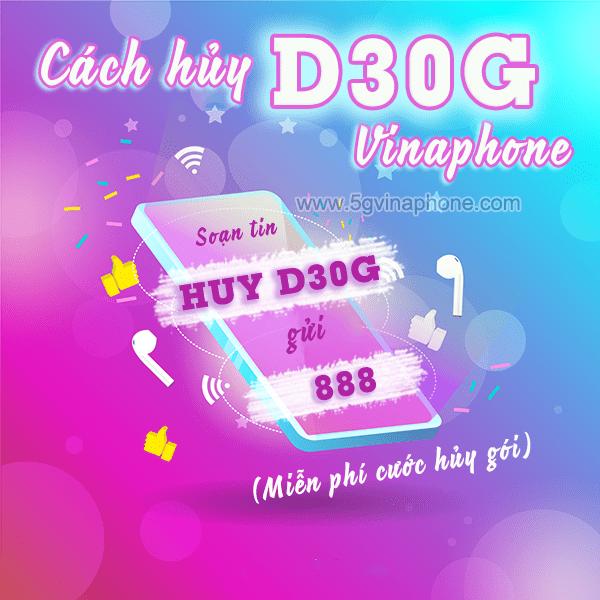 Hủy gói D30G Vinaphone bằng tin nhắn và bằng ứng dụng My VNPT