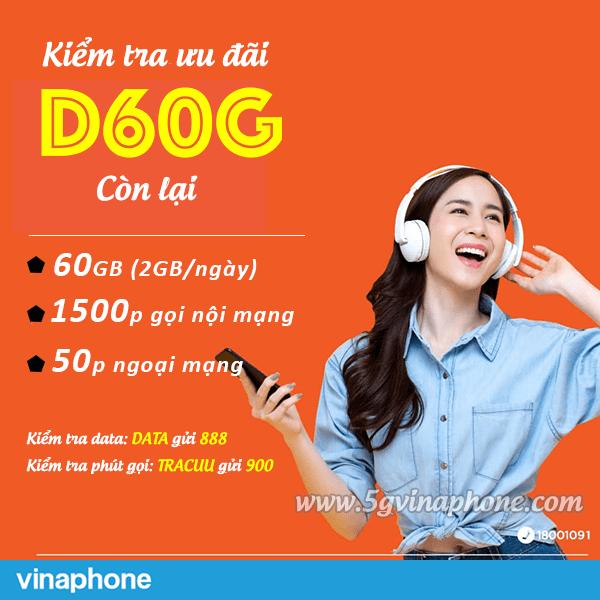 Kiểm tra ưu đãi gói D60G Vinaphone còn lại hoàn toàn miễn phí