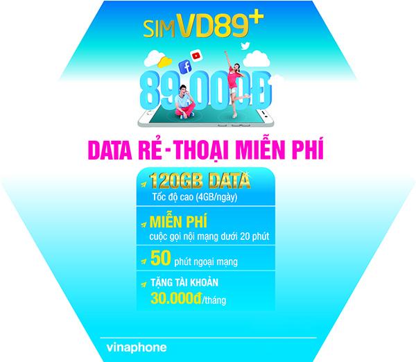 Đăng ký gói VD89P Vinaphone ưu đãi 120GB data + gọi free chỉ với 89k