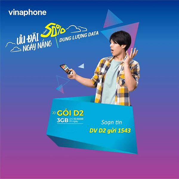 Cách đăng ký gói D2 Vinaphone miễn phí 3GB data chỉ với 10k/ngày