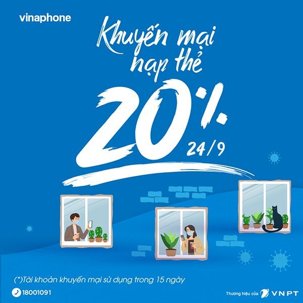 Khuyến mãi Vinaphone 24/9/2021 NGÀY VÀNG tặng 20% tiền nạp